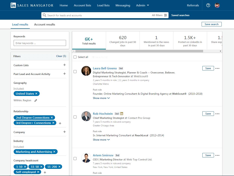 sales-navigator-interface